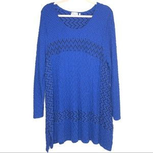 HABITAT | Blue Long Sleeve Pattern Tunic XL
